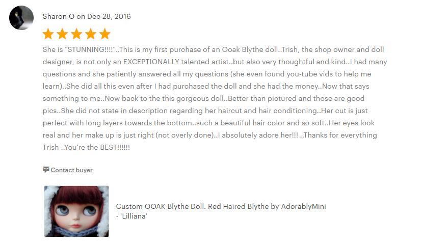 Sharons 5 Star Blythe Doll Etsy Review